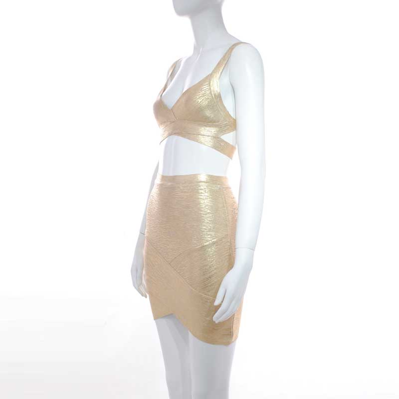 wholesale 2019 New Ladies suits Gold Spaghetti Strap Bandage top amp skirt Cocktail party bandage two Piece Set Dress L2909 in Women 39 s Sets from Women 39 s Clothing