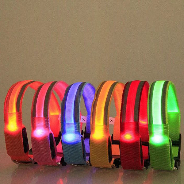 8 расцветок размеры S M L XL Размеры Glow светодиодные собака, кошка мигающий свет нейлон воротник Ночь Детская безопасность Воротники поставляе...