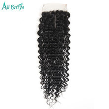 Ali Berrys Hair Peruvian Deep Wave Closure 4×4 Lace Closure Natural Color 10-20 Inch Middle Part Closure Hand Tied Free Shipping