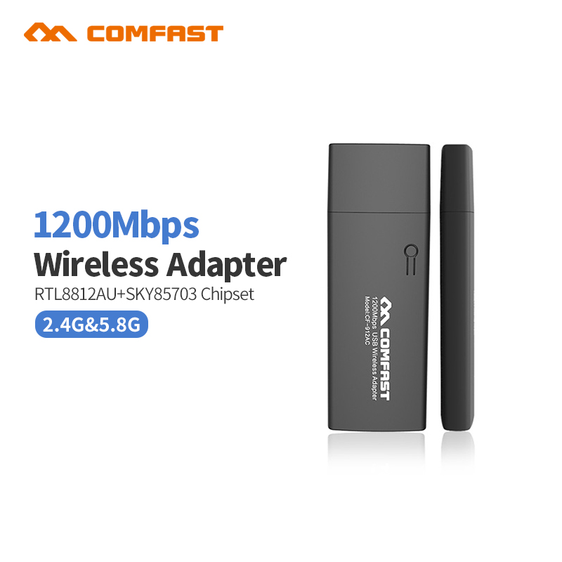 COMFAST CF-912AC 1200M 802.11AC Laptop Dual Band 2.4Ghz + 5Ghz USB 3.0 Wireless/WiFi AC Gigabit Adapter Dongle Adaptor