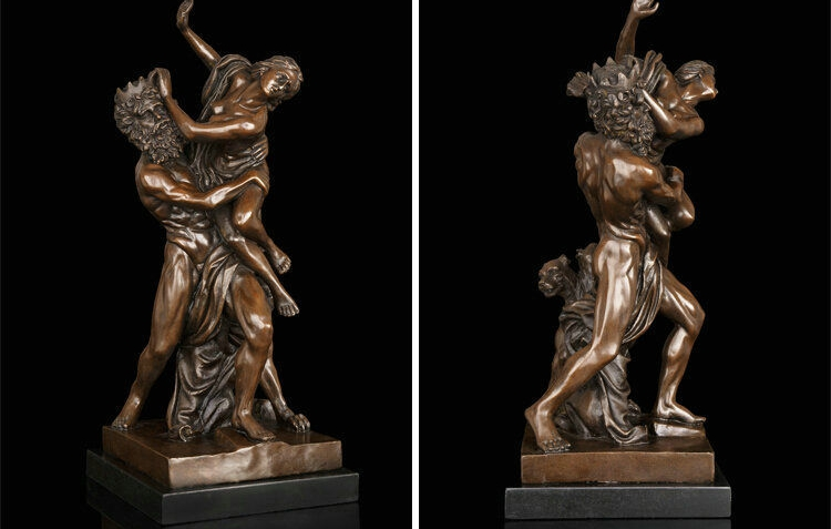 Art Deco Sculpture Angels Nude Woman And Man Bronze Statue Signed