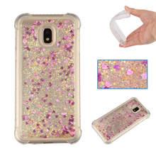 For Samsung Galaxy J3 2017 case Back cover Bling Glitter Dynamic Quicksand Liquid Case for J330 EU Version