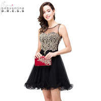 Vestidos De Renda Cheap Golden Lace Black Chiffon Homecoming Dresses 2016 Real Image Short Prom Dresses
