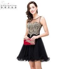 Vestidos de Renda Cheap Golden Lace Black Chiffon Homecoming Dresses 2017 Real Image Short Prom Dresses Vestido de Festa Curto