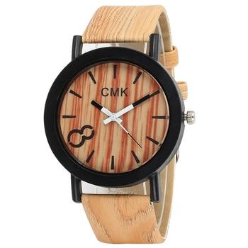 Marque CMK montre mode Imitation bois Grain bracelet en cuir analogique Quartz montre-bracelet hommes d'affaires horloge Relogio Masculino 4 couleurs