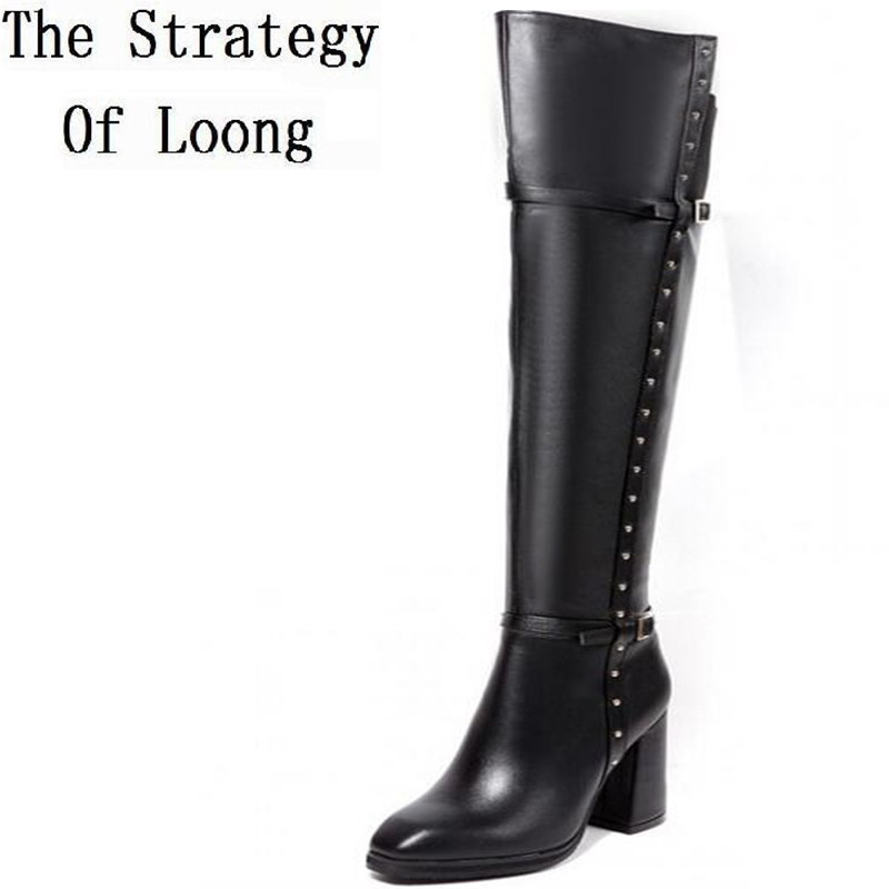 Winter Women Thick High Heel Genuine Leather Buckle Rivets Side Zipper Round Toe Fashion Over The Knee Boots SXQ1013 fashion slim rivets thick heel pointed toe zip winter snow boots genuine leather stretch fabric over the knee boots women boots