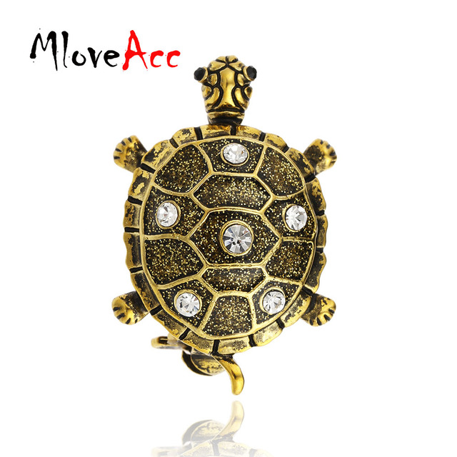 MloveAcc Vintage Gold-color Turtle Brooch Crystal Alloy Brooch Scarf Collar  Suit Sweater Clips Tortoise Animal Pins Kids Jewelry 378b0853d619