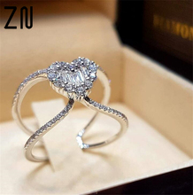 ZN Fashion Luxury Heart Shape Zircon Ring Love Wedding Princess Engagement Ladies