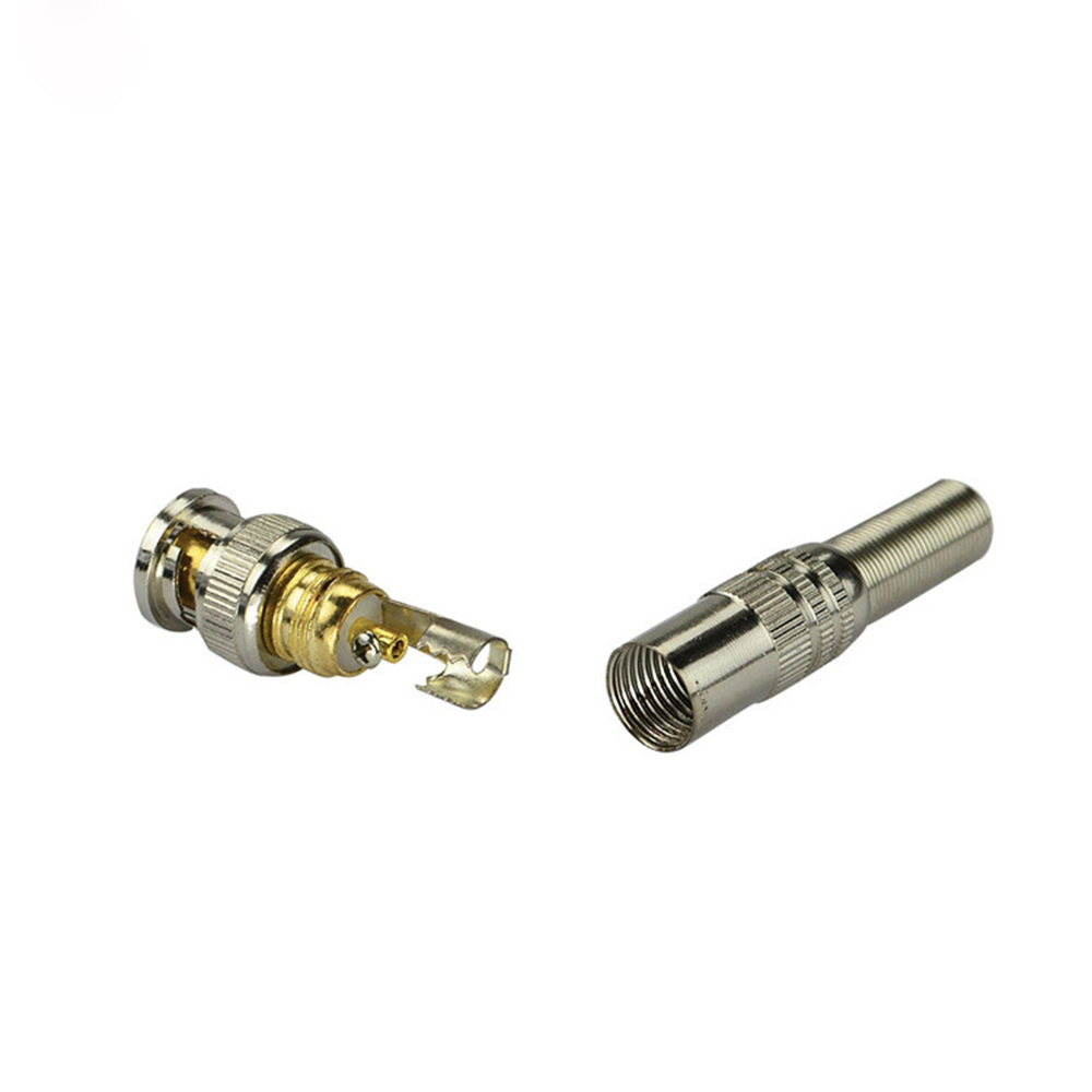 10 Pcs Pure Copper Gold Needle Free Welding Ordinary BNC Connector Surveillance Camera Q9 Connector Shield Security Accessories