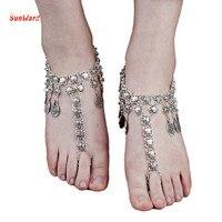 SunWard Women Beach Barefoot Sandal Foot Punk Retro Metal Coins Feet Jewelry Anklet Chain 34cm+6.8cm 1PC