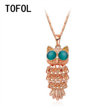 TOFOL Rose Gold Pendants Women Necklaces Owl Cats Eye Chain Long Necklaces Female Jewelry Fashion Gift
