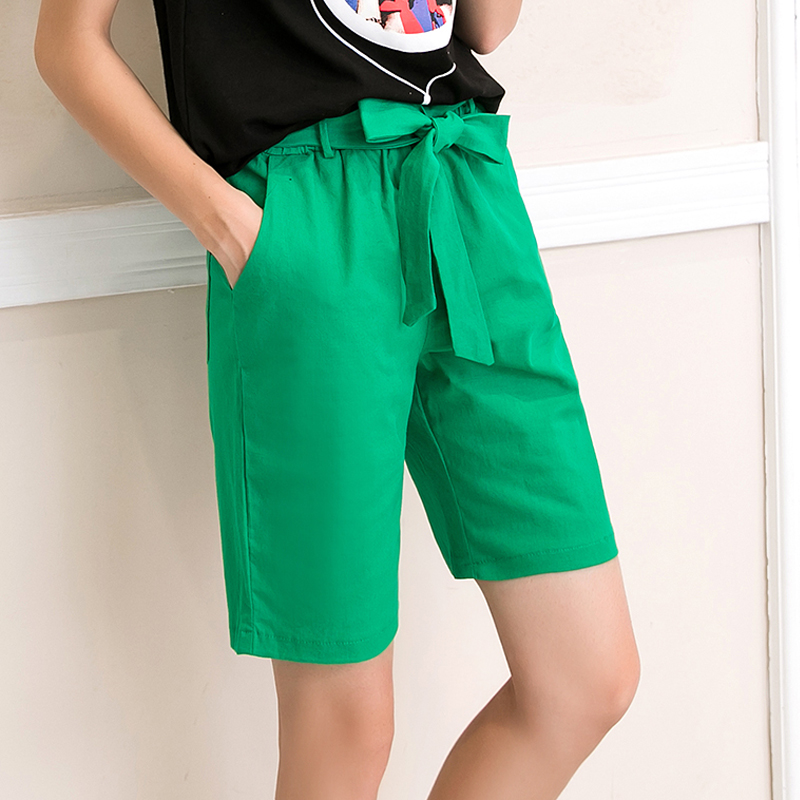 2018 New Summer Autumn Fashion Elastic Sashes Mid Waist   Shorts   Women Casual Plus Size   shorts   Solid Thin Bow   Shorts   Female Mw422