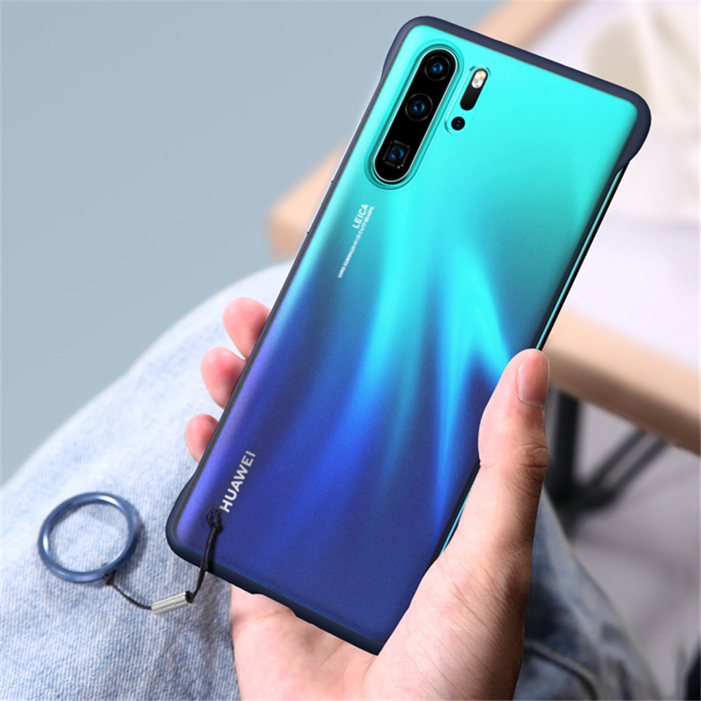 Translucent Micro Matte Phone Case for Huawei P30 P20 Pro Mate 20 Honor 20 View Nova 4 5 Cases Free Rope Metal Finger Ring Cover in Fitted Cases from Cellphones Telecommunications