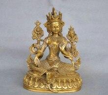 Бесплатная доставка 002205 7 »Китай Тибет Чистая Бронза ЗЕЛЕНАЯ ТАРА статуя Будды