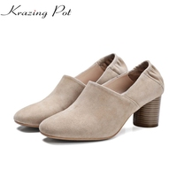 2017 Krazing Pot Women Brand Shoes Fashion Genuine Leather Square Toe Nude Round High Heels Slip