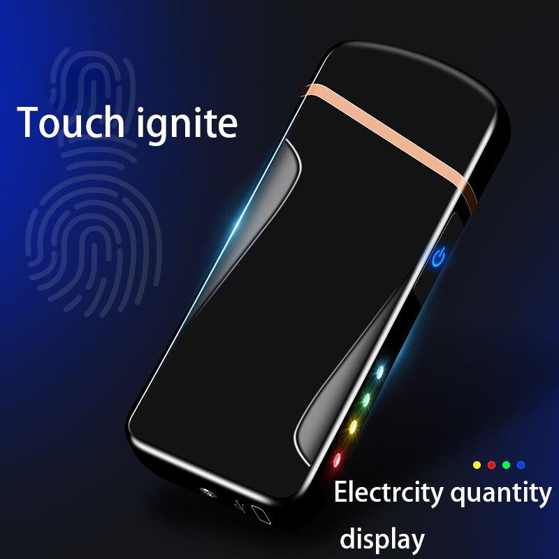 Nuovo Doppio Arco Più Leggero Per Fumo di Sigaretta Ricaricabile Antivento USB Accenditore Elettronico Laser Libero Logo