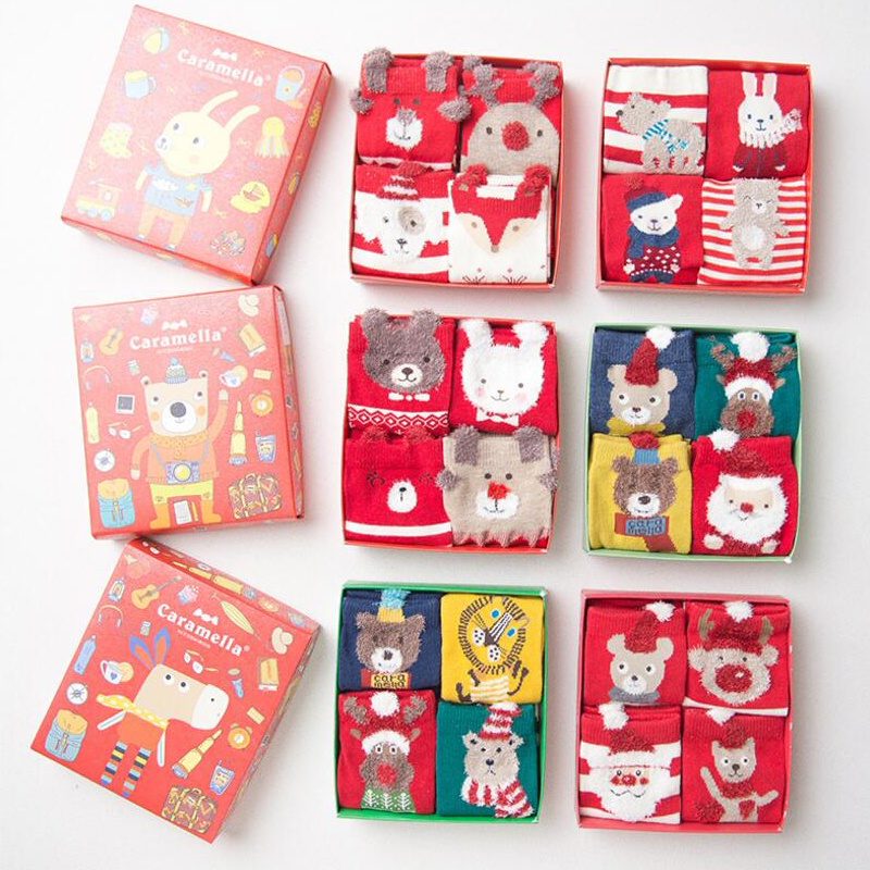 Autumn Winter New Children Socks 4 Pairs Christmas Gift Box Cotton Cartoon Kids Boys Girls Warm Socks