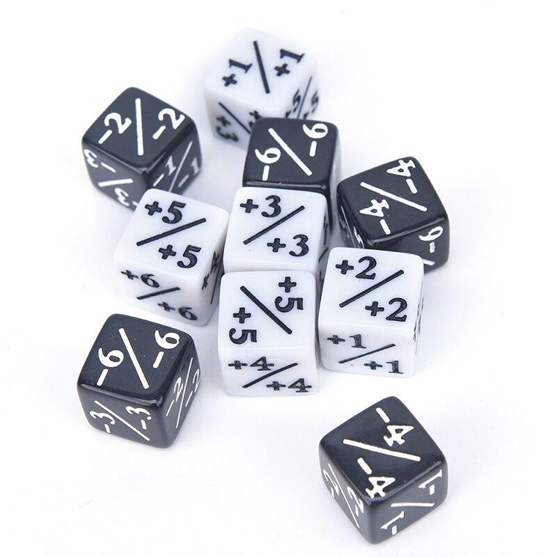10 шт., счетчики игральных костей, 5 положительных + 1/+ 1 и 5 отрицательных-1/-1 для волшебной настольной игры, забавная Таблица