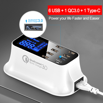Mais novo Carregador de Carga Rápida 3.0 Tipo C Estação USB Display Led Inteligente de Carregamento Rápido para Tablet Carregador USB frete grátis