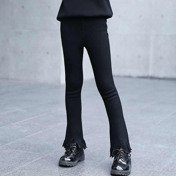 เด็ก 2018 สาวใหม่ฤดูใบไม้ผลิและฤดูหนาวเกาหลีแฟชั่น Slim Plus กำมะหยี่ลูกไม้ Bellbottoms หนาหญิงกางเกง