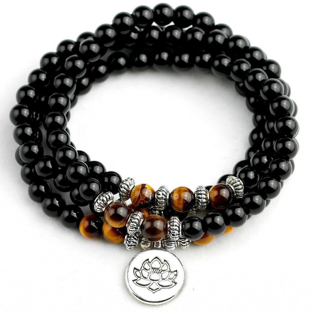 Men's Bracelet 108 Beads Natural Black Onyx Bracelet Tiger eye Beads Multi-layer Rosary Mala Bracelets Women Free Shipping