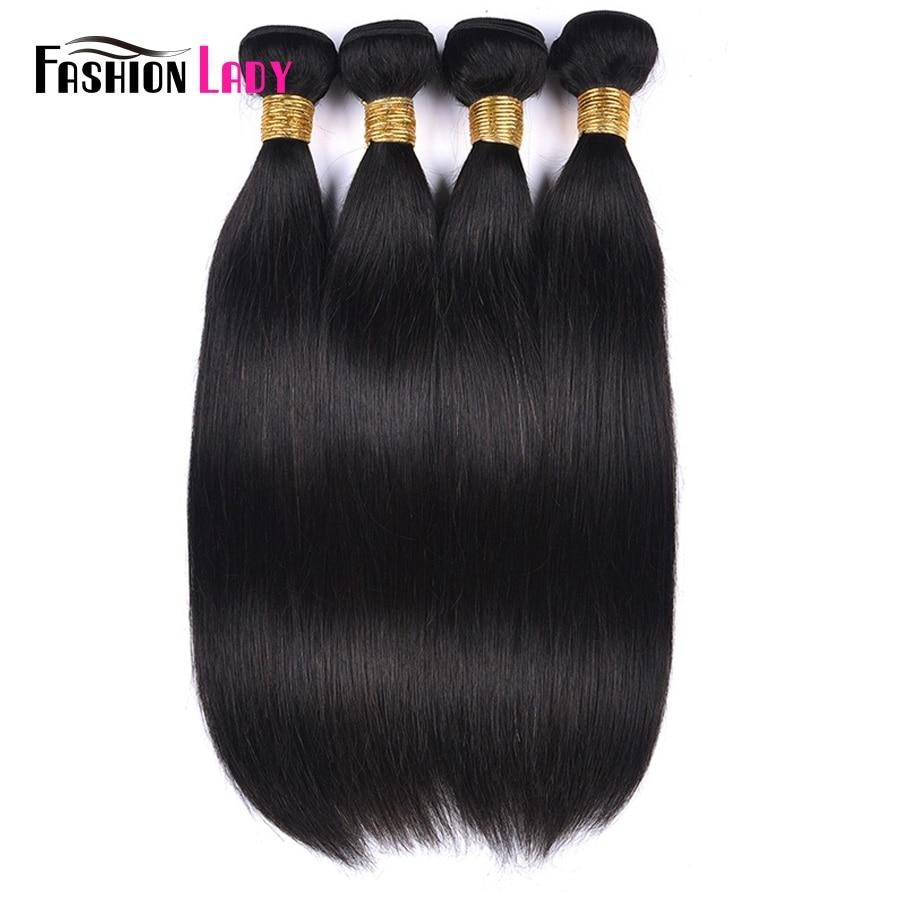 Fashion Lady Pre-colored Brazilian Hair Weaving 4 Bundles Deal Straight Hair Bundles Human Hair Weave Natural Color Non-Remy