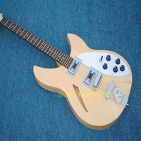 2018 Top Quality Rickenback Natural Wood Color Bass Electric Guitar,6 Strings Semi Hollow Body Bass Guitar,FreeShipping