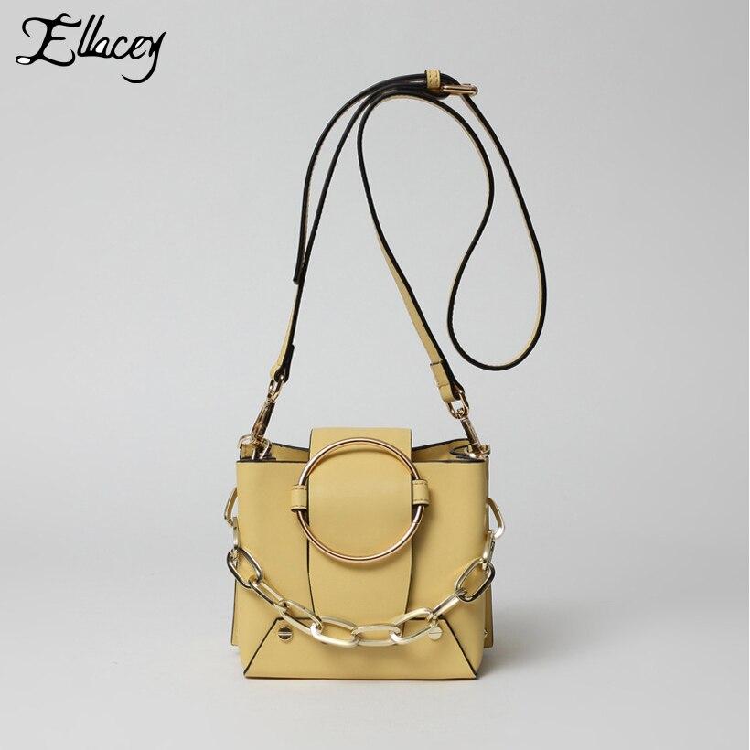 где купить  New 2017 Luxury Cow Split Leather Handbags Women Vintage Chain Bucket Bags Metal Ring Designer Genuine Leather Shoulder Bags  по лучшей цене