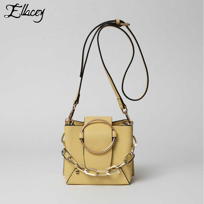 New 2018 Luxury Cow Split Leather Handbags Women Vintage Chain Bucket Bags Metal Ring Designer Genuine Leather Shoulder Bags 2017 new female genuine leather handbags first layer of cowhide fashion simple women shoulder messenger bags bucket bags