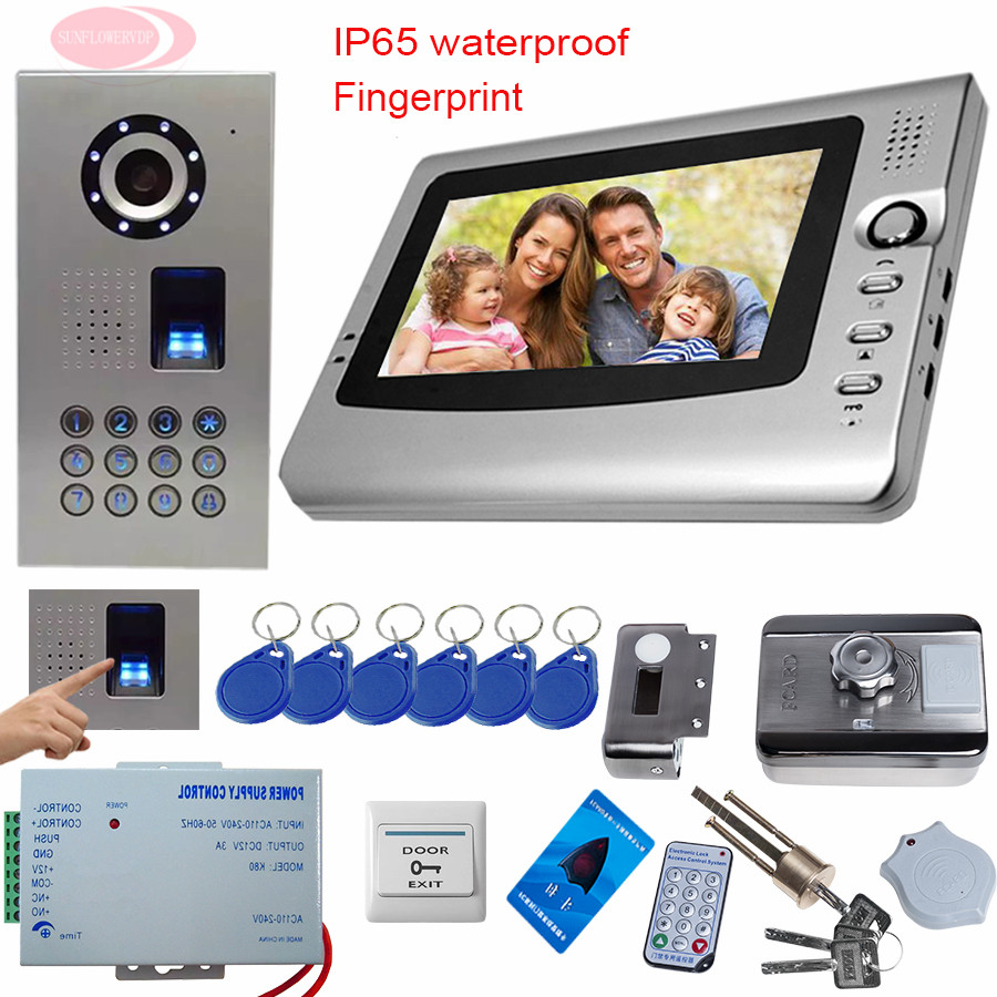 SUNFLOWERVDP Video Intercom For A Private House 7'' Color Door bell with camera Rfid Electronic Lock Fingerprint/Code Unlock Kit sunflowervdp wired video door phone 7inch tft color lcd inner door bell fingerprint code unlock touch button intercom video kit