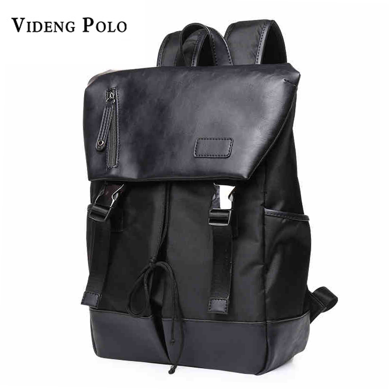 Men Bag Large Capacity Solid Black Leather Man Laptop Backpack Leisure Travel Bagpack college student school Daypack Male Mochil casual men genuine leather backpacks male large capacity shoulder travel bag daypack student laptop backpack school bags mochila