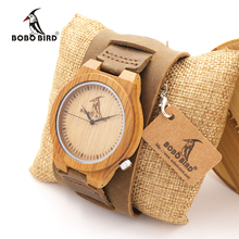 BOBO BIRD Z010 Luxury Brand Design Bamboo Wood Watches Chicago Soft Genuine Dismountable Wide Leather Bands Straps Mens Watch