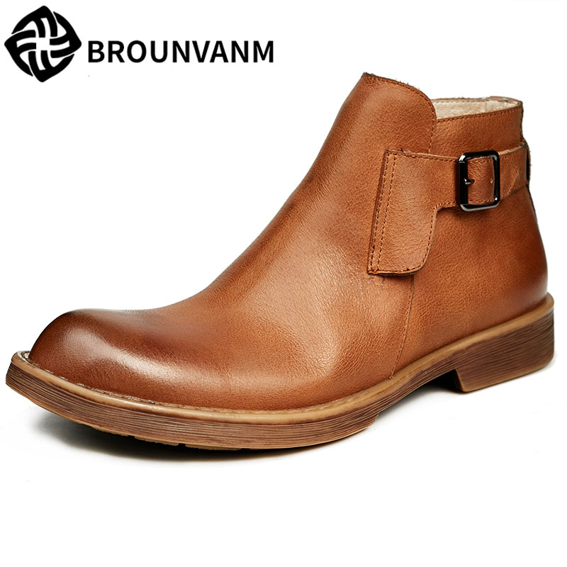 The British men's winter boots shoes high Retro Leather shoes low Martin boots breathable handmade fashion autumn winter 2017 new autumn winter british retro men shoes leather shoes breathable fashion boots men casual shoes handmade fashion comforta