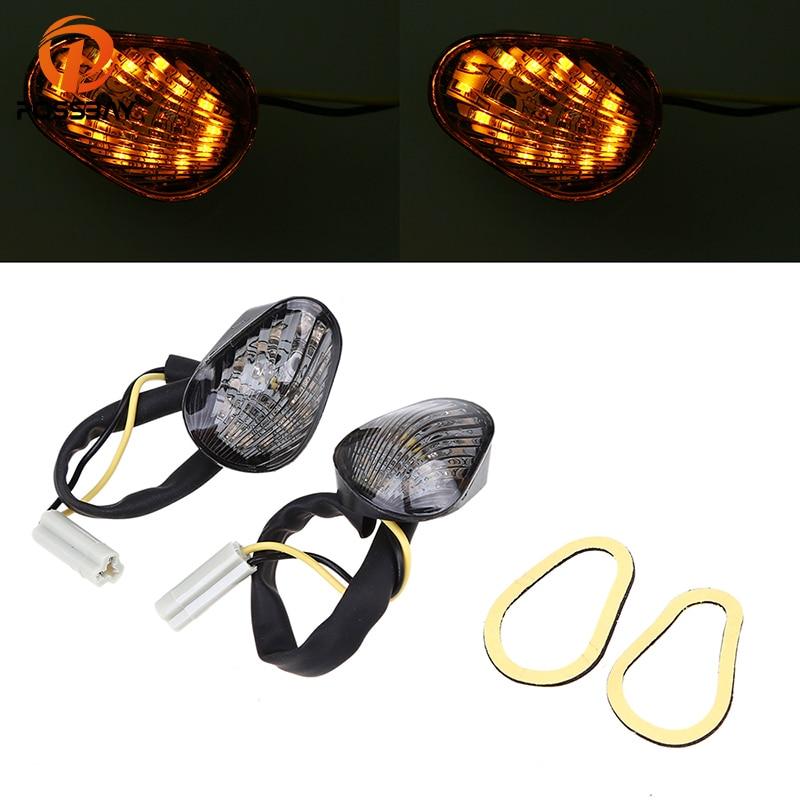 POSSBAY Amber Motorcycle Turn Signal Light Blinker Cafe Racer LED Flashers Lights For Yamaha YZF R1 R6 R6S 2006 2007 2008 2009
