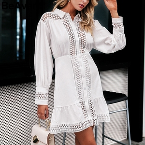 Image 3 - BeAvant 화이트 코튼 드레스 여성 우아한 랜턴 슬리브 겨울 드레스 인어 라인 여성 가을 드레스 vestidos