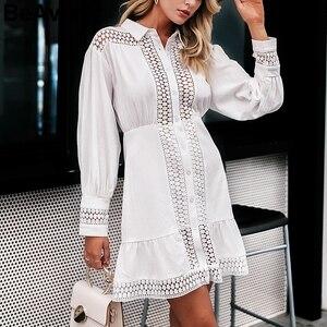 Image 3 - Beavant Rỗng Ra Trắng Cotton Nữ Thanh Lịch Đèn Lồng Tay Mùa Đông Áo Nàng Tiên Cá Chữ A Nữ Áo Thu Vestidos