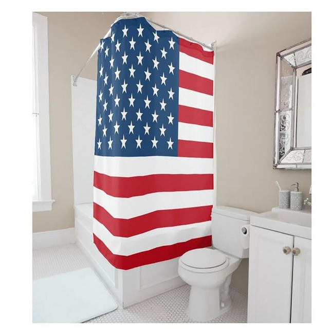 Attrayant USA Flag Shower Curtains Hooks Curtain Waterproof Fabric Polyester Bathing  Home Decal Bath Decor