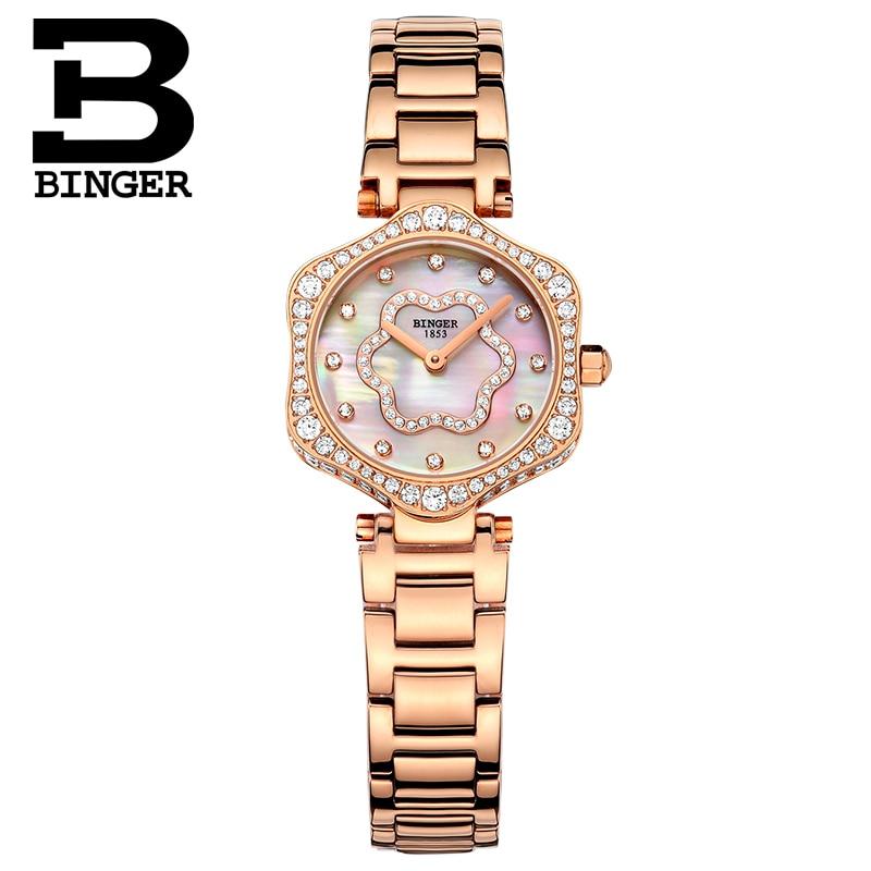 Schweiz BINGER frauen Uhren Luxus Marke Quarz Wasserdichte Uhr Frau Sapphire Uhr Diamant relogio feminino B1150 3 - 5