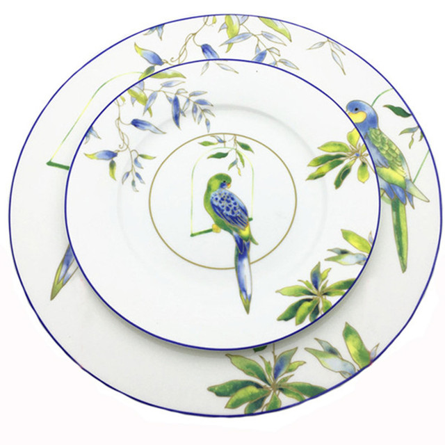 8 Inch Porcelain Dinner Plate Chinese Traditional Bird Dish Ceramic Steak Plate Illustration Dinnerware Set Christmas  sc 1 st  AliExpress.com : bird dinnerware - pezcame.com