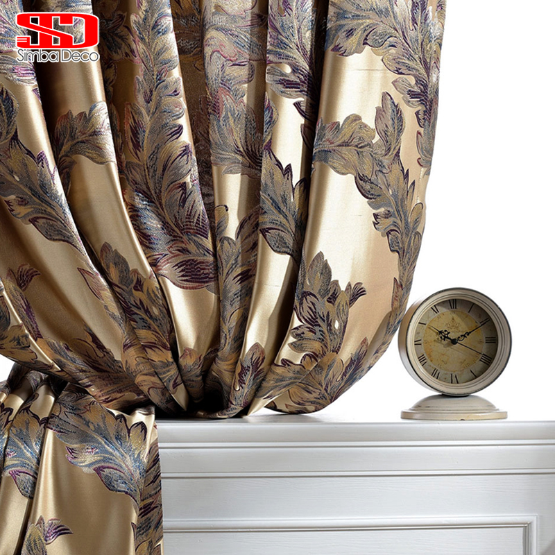 Luxury Curtains For Living Room Peacock Feather Blinds Jacquard Drapes For Bedroom Chinese Window Shading High Shading Panels