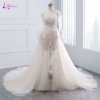 Waulizane Chic Tulle Bridal Gown Exquisite Embroidery 2017 O Neck 2 In 1 Detachable Train Wedding Dress Customize Made Plus Size