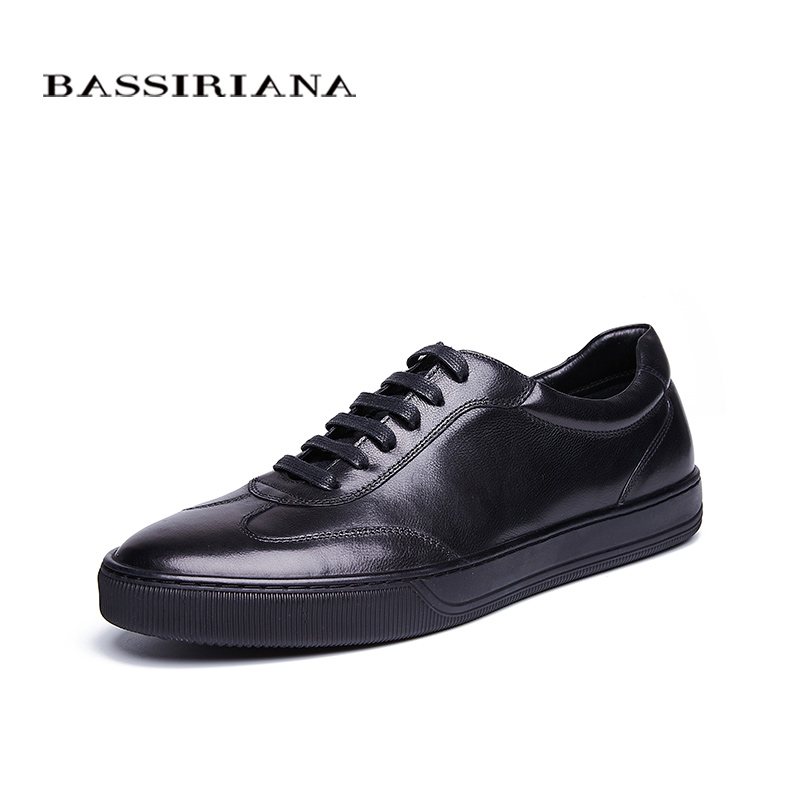 BASSIRIANA New Genuine cow Leather men shoes casual lace up comfortable breathable black blue spring autumn 39-45 size handmade 2017 spring autumn breathable white wild men casual shoes 100% handmade pigskin leather comfort men shoes high quality size40 44