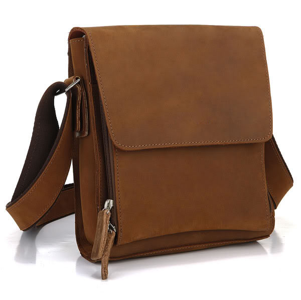 Nesitu High Quality Vintage Small Brown Genuine Leather Crazy Horse Leather Men Messenger Bags Cross Body
