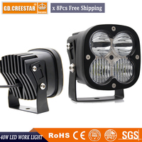 Combo Beam Wholesale Led work lights GDCREESTAR 4.4 Inch 40W Led driving lights super bright led auxiliary mix beam lights x8pcs