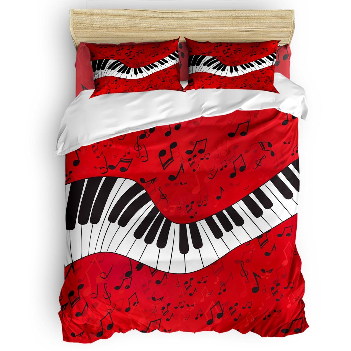 Note de musique Piano fond rouge housse de couette literie ensembles de couette dimanche de pâques jour commémoratif fête des pères microfibre Floral