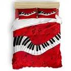 Piano Music Note Rode Achtergrond Dekbedovertrek Beddengoed Trooster Sets Pasen Zondag Memorial Day Vaderdag Microfiber Bloemen - 1