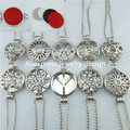 25mm 30mm Dull Silver Perfume Essential Oil Aromatherapy Box Cage Pad Plate Web Peace Sign Flower Gear Locket Necklace