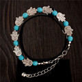 0108 Hot Charm Beads Fashion Jewelry Vintage Hollow Out Handmade Petals Tibetan Silver Turquoise Bracelet Free Shipping