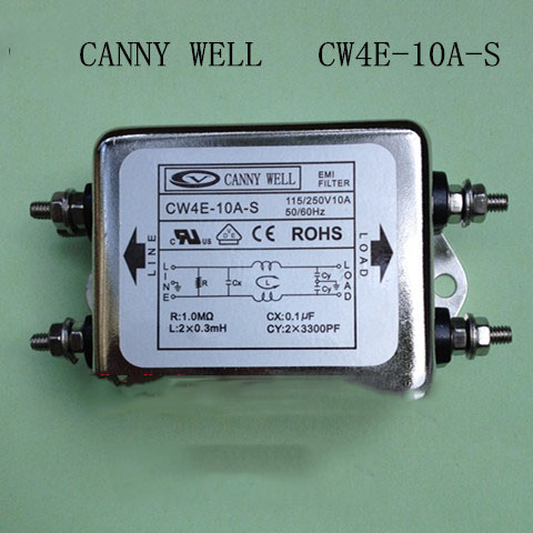 CW4E-10A-S  115V/ 250V 50/60Hz 10A AC Power Single Phase EMI Filter Power filter  power staticizer  Electrical Equipment eam 10 331 ac power line filters emi filter mr li