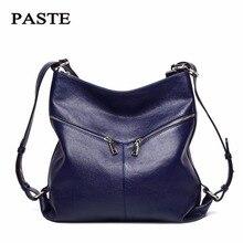 Паста бренд 100% женская обувь из натуральной кожи роскошные дизайнерские Fashion воловьей кожи сумки повседневные Soft кожаный рюкзак